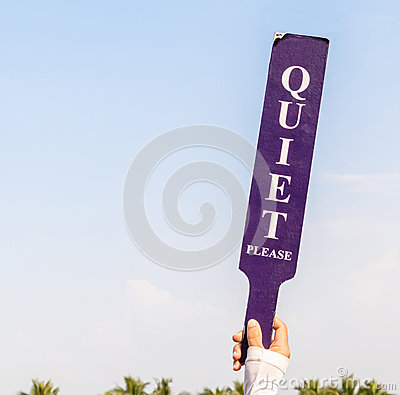 Free The Quiet Please Sign Was Shown By Staff In Golf Tournament For Stock Photos - 45425773