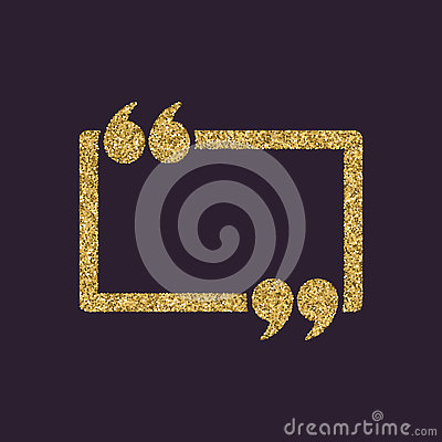 Free The Quotation Mark Speech Bubble Icon. Quotes, Citation, Opinion Symbol. Gold Sparkles And Glitter Stock Images - 78923504