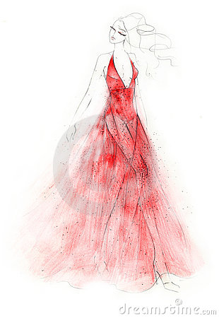Free The Red Dress Fashion Illustration Royalty Free Stock Photos - 9268758