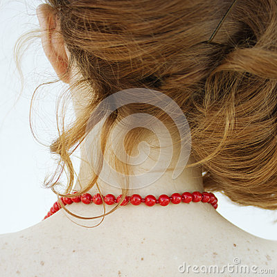Free The Red Necklace. Back View. Stock Images - 31003504