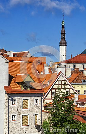 Free The Red Roofs Of The Old Town Of Tallinn In Sunny Summer Day. Stock Photo - 106964110