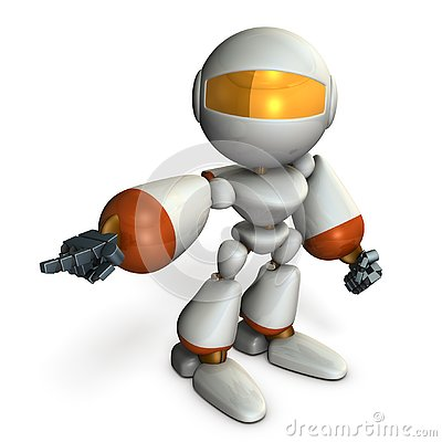 Free The Robot Points It And Orders It. Stock Photo - 130863230