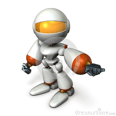 Free The Robot Points It And Orders It. Royalty Free Stock Photo - 130863845