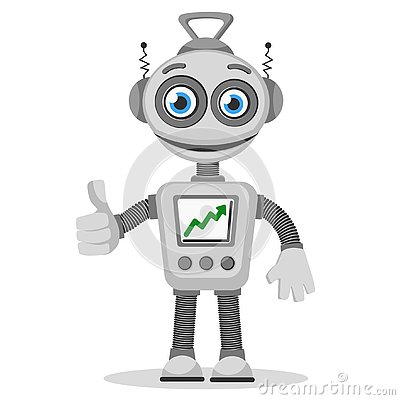 Free The Robot With The Graph Up On The Screen Shows Like Stock Photography - 130322832