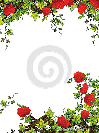 Free The Rose Frame - Border - Template - With Roses - Valentines - Fairy Tales - Illustration For The Children Royalty Free Stock Photography - 32113957