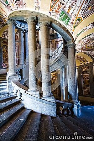 Free The SCALA REGIA, The Principal Staircase Of Villa Farnese In Caprarola, Italy Royalty Free Stock Image - 82492526