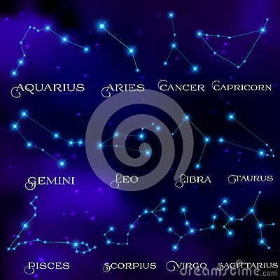 Free The Set Of Twelve Constellations. Constellations Royalty Free Stock Photo - 65965195