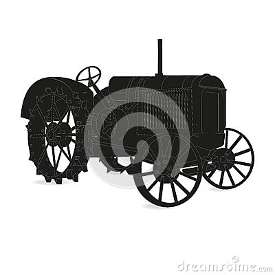 Free The Silhouette Of The Old Tractor Vector Stock Photography - 46754542