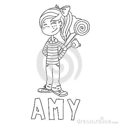 Free The Simple Outline Drawing For Coloring With The Image Of Children Of Different Name Characters And Education Stock Photography - 59158452
