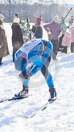 Free The Skier Was Tired After A Long Race Royalty Free Stock Image - 109942786