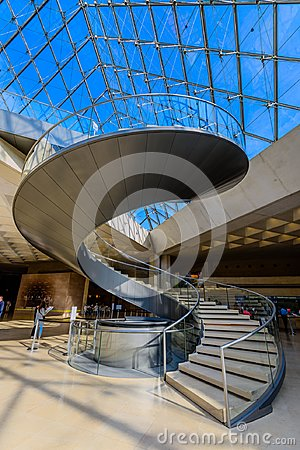 Free The Spiral Stairs Of The Louvre Museum And Glass Pyramid Royalty Free Stock Photo - 118253075