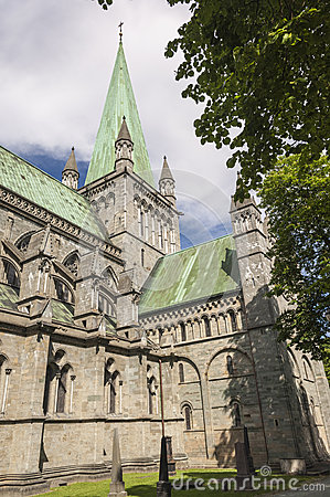 Free The Spire Of Trondheim Cathedral Stock Photos - 55846913