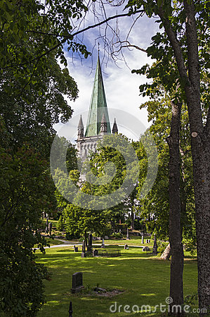 Free The Spire Of Trondheim Cathedral Royalty Free Stock Image - 55846966