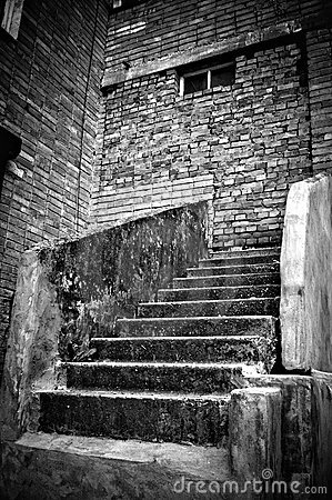 Free The Staircase Leading Into Brick Wall. B&W Stock Photo - 20263420