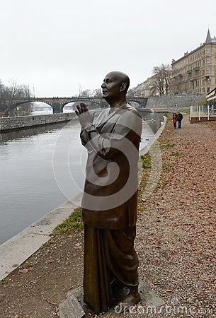 Free The Statue Of `Harmony Or Sculpture Praying` Socha Harmonie Erected In Honor Of The Famous Indian Philosopher-humanist, A Preach Stock Photos - 87808613