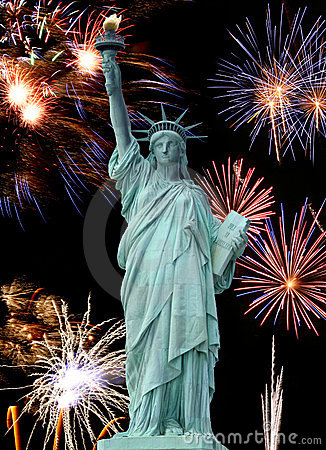 Free The Statue Of Liberty And July 4th Firework Stock Images - 4782164