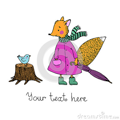 Free The Story About The Cute Fox And The Bird In The Rain. Stock Photo - 73461770