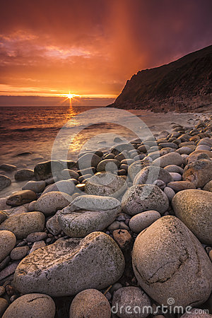 Free The Sun Sets At Porth Nanven Royalty Free Stock Images - 41176089