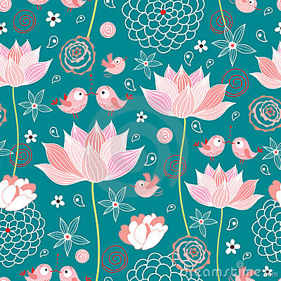 Free The Texture Of Lotus Flowers And Birds Royalty Free Stock Image - 16991476