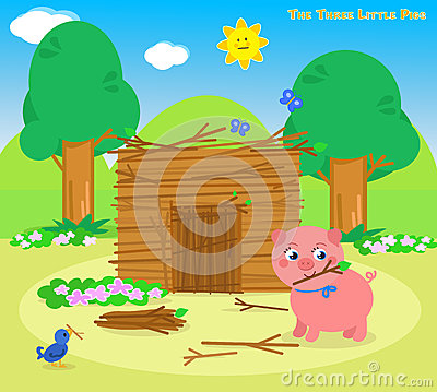 Free The Three Little Pigs 5: The Sticks House Royalty Free Stock Image - 68682686