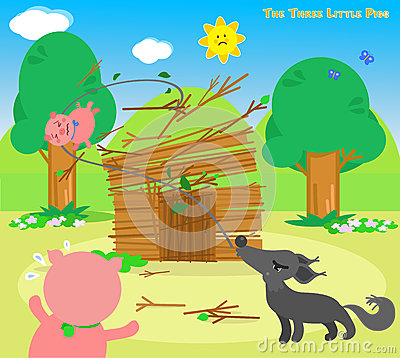 Free The Three Little Pigs 6: Wolf Destroys Royalty Free Stock Photos - 68673678