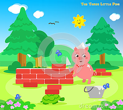 Free The Three Little Pigs 7: The Bricks House Royalty Free Stock Photos - 68734398