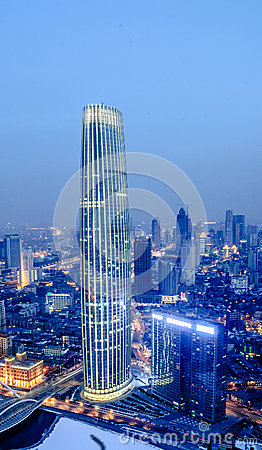 Free The Tianjin Tower At Night Royalty Free Stock Photo - 37742735
