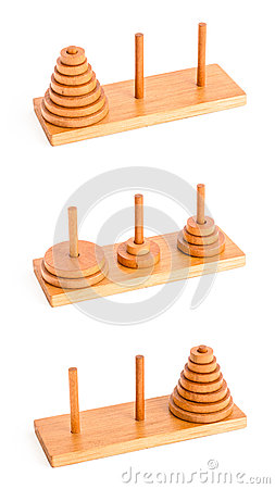 Free The Tower Of Hanoi Isolated On White Stock Photography - 24795972