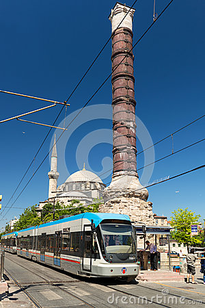 Free The Tram Stopped At The Column Of Constantine In Istanbul Royalty Free Stock Photography - 31900467