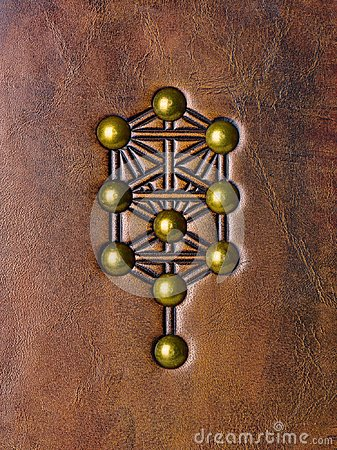Free The Tree Of Life, Kabbalah Symbol Embossed To Aged Brown Leather Stock Image - 115833841
