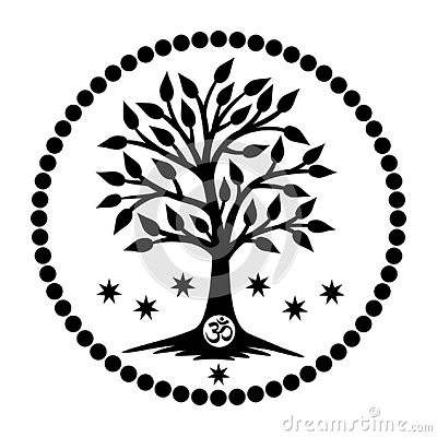 Free The Tree Of Life With The Aum / Om / Ohm Sign In The Center Of The Mandala. Vector Royalty Free Stock Photos - 126824418