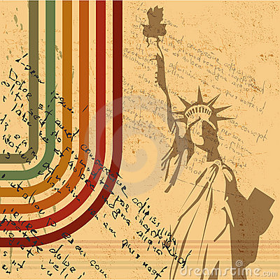 Free The Vector Retro Statue Of Liberty Background Royalty Free Stock Image - 21114106