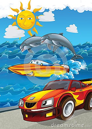 Free The Vehicle And The Ship - Illustration For The Children Royalty Free Stock Photos - 30885788