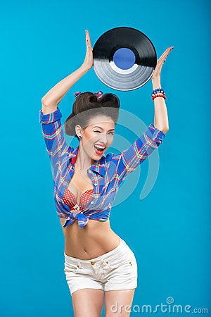 Free The Vintage Photo Of Girl Holding Vinyl Record. Royalty Free Stock Image - 50165546