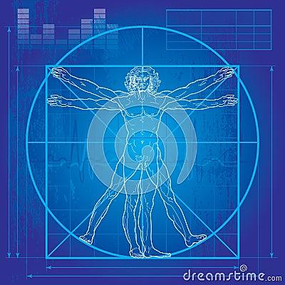 Free The Vitruvian Man (Blueprint Version) Stock Photography - 16533982