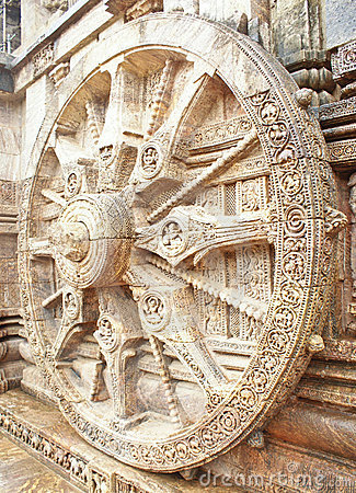 Free The Wheel Of Sun God S Chariot At Konark Temple Stock Photos - 20111853