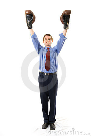 Free The Winner. Businessman Boxer. Royalty Free Stock Photos - 5281578