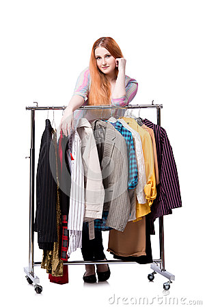 Free The Woman Choosing Clothing In Shop Isolated On White Royalty Free Stock Photography - 75223127