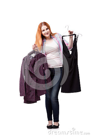 Free The Woman Choosing Clothing In Shop Isolated On White Stock Image - 75223131