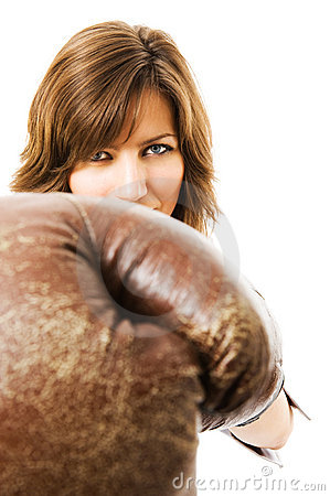 Free The Young Businesswoman Defends From Competitors. Royalty Free Stock Photography - 5281827