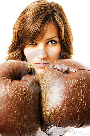 Free The Young Businesswoman Defends From Competitors. Royalty Free Stock Photos - 5281848
