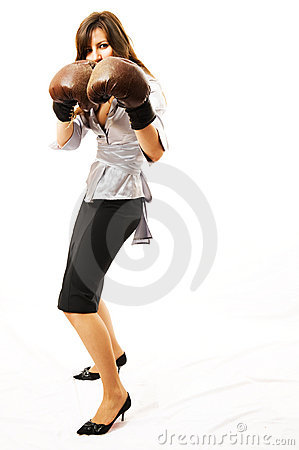 Free The Young Businesswoman Defends From Competitors. Royalty Free Stock Image - 5281856