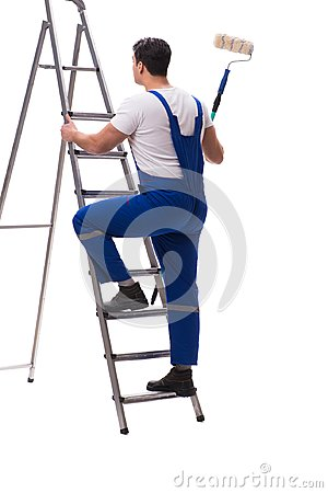 Free The Young Painter Contractor Isolated On White Background Royalty Free Stock Images - 108011479