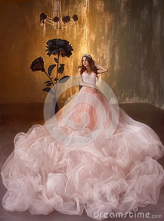 Free The Young Princess Sits On A Chair Near The Huge Black Roses In The Gothic Style. The Girl Has A Crown And A Luxurious Royalty Free Stock Photo - 114338155