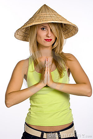 Free The Young Woman In A Straw Hat Royalty Free Stock Photos - 3430938