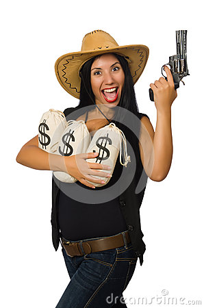 Free The Young Woman With Gun And Money Sacks Royalty Free Stock Photos - 63419048