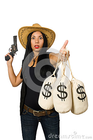 Free The Young Woman With Gun And Money Sacks Royalty Free Stock Photos - 66153998