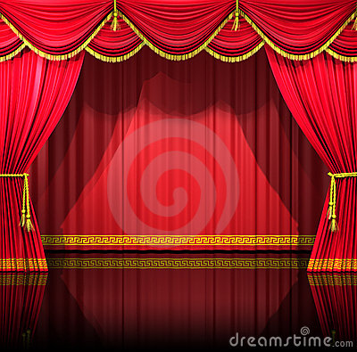 Theater Curtains With Backdrop Royalty Free Stock Photos