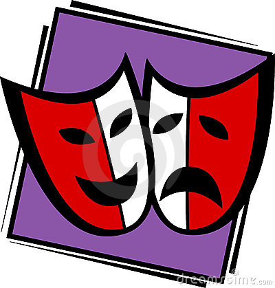 Theater drama masks vector illustration