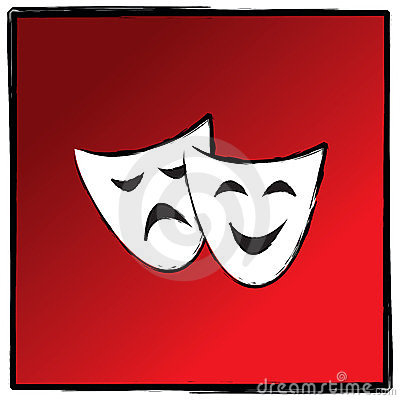 Theater drama masks vector illutration